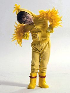 This happy-go-ducky Halloween outfit is so simple your kids can help make it. Hot-glue or hand-stitch yellow feather boa pieces onto the sleeves of a yellow hoodie. Attach another 5-inch-long piece of boa to the point of the hood. Finish the costume with yellow gloves, yellow sweatpants, and yellow rubber boots./
