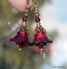 Lucite Earrings, Flower Earrings, 'Mini Burgundy', Victorian Earrings, Boho Earrings, Drop Earrings, Red Flower Earrings, Mother's Day Gift