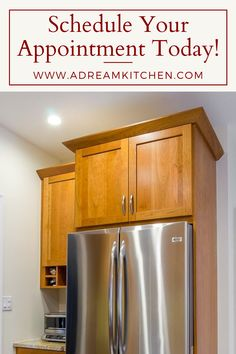 Improving your storage and prep space is a Dream Kitchen's promise! Don't just leave stuff on top of your fridge, the space above your refrigerator is a PERFECT spot to install a brand new cabinet. Right next to the fridge, we created another brand new space to store snacks, plates or even office supplies. 🏡Remodeling your home? ☎️ Call 603-891-2916 today to schedule your FREE design consultation! Cherry Wood Cabinets, Wood Kitchen Cabinets, New Cabinet, News Space, Design Consultant, Refrigerator, Free Design, Schedule, Kitchen Remodel