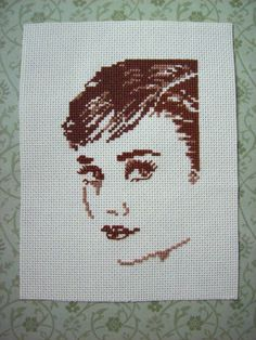 Audrey Hepburn Cross Stitch by HappyTofuCube