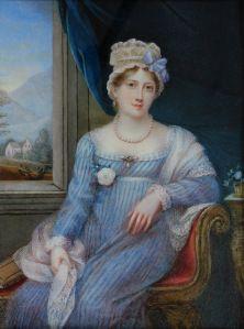 Princess Charlotte Augusta of Wales by Charlotte Jones. Many posthumous portraits were painted of Princess Charlotte, who died in childbirth in Jane Austen, Regency Dress, Regency Era, Turbans, Miniature Portraits, Empire Style, Historical Clothing, 1800s Clothing, Historical Romance