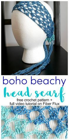 Great Snap Shots Crochet headband boho Concepts Boho Beachy Head Scarf, Free Crochet Pattern + Video on Fiber Flux, this would be cool with beads! Crochet Gratis, Free Crochet, Knit Crochet, Crochet Summer, Easy Crochet, Crochet Scarves, Crochet Clothes, Crochet Headband Pattern, Boho Crochet Patterns