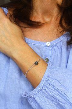 Bracelet Préférence en argent et perle de Tahiti