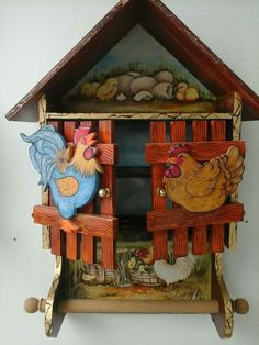 Egg Skelter, Wood Crafts, Diy And Crafts, Egg Holder, Country Paintings, Vintage Scrapbook, House In The Woods, Bird Houses, Painting On Wood