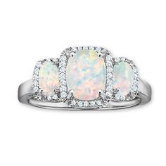 Love it!  Cushion-Cut Lab-Created Opal Three Stone Ring with Diamond Accents in 14K White Gold - View All Rings - Zales