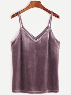 Shop Double V Velvet Cami Top online. SheIn offers Double V Velvet Cami Top & more to fit your fashionable needs.