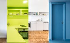 emphasizing the character of each flat, the added spaces are highlighted with vibrant colors.