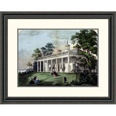Global Gallery 'Home of Washington' by Currier and Ives Framed Painting Print Size: