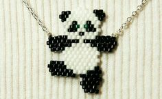 Cute Dancing Panda Necklace, Seed Bead Animal Jewelry, Silver Plated Chain on Et… - Jewelry Ideas Seed Bead Patterns, Beaded Jewelry Patterns, Beading Patterns, Knitting Patterns, Loom Patterns, Embroidery Patterns, Seed Bead Jewelry, Bead Earrings, Jewelry Rings