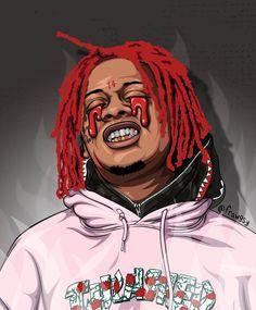 Dope Cartoons, Dope Cartoon Art, Famous Cartoons, Trippy Wallpaper, Rap Wallpaper, Wallpaper Iphone Cute, Arte Hip Hop, Hip Hop Art, Trippie Redd