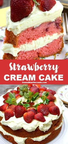 Strawberry Cream Cake Strawberry Cream Cake,Cake Recipes *NEW* This Strawberry Cream Cake is made up of super moist strawberry cake with layers of luscious vanilla cream and of course loads of fresh strawberries! Best Strawberry Cake Recipe, Strawberry Cake From Scratch, Strawberry Sheet Cakes, Strawberry Crunch Cake, Pound Cake With Strawberries, Strawberry Recipes, Strawberries And Cream, Strawberry Shortcake, Köstliche Desserts
