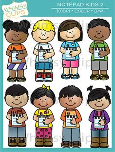The Notepad Kids clip art set features 8 kids holding or writing on notepads. This set contains 16 image files, which includes 8 color images and 8 black & white images in png. All images are 300dpi for better scaling and printing.