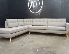 Mid Century Modern Sectional Chaise Sofa Mid century modern Mid