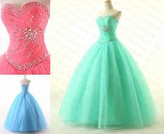 New2015-Quinceanera-Dresses-Ball-Gown-Tulle-Long-Prom-Dress-Formal-Evening-Gowns