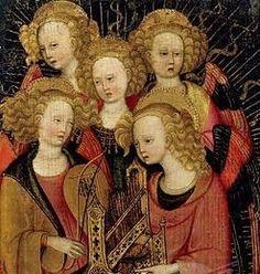 Stefano da Verona (Italian artist, c 1374-1438 Italian) Angel Musicians detail