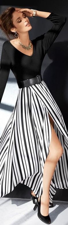 black top long maxi striped skirt summer outfits womens fashion clothes style apparel clothing closet ideas love it Fashion Mode, Look Fashion, High Fashion, Womens Fashion, Fashion Trends, Fashion Clothes, Women's Clothes, Trendy Fashion, Fall Fashion