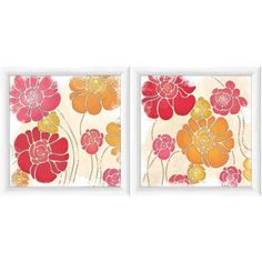 Trendy Flowers 2 Floral Wall Art, Set of 2