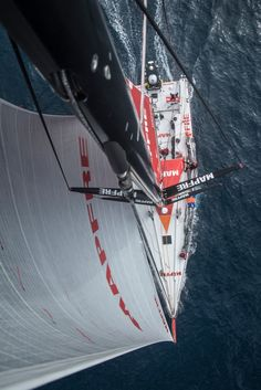 November 23, 2014. Leg 2 onboard MAPFRE. Nice view of the boat and crew from the top of the mast