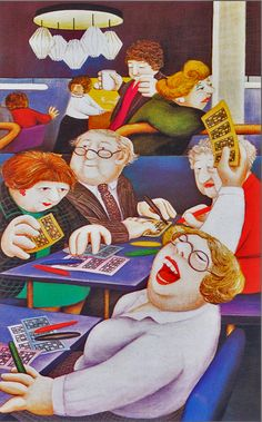 """Bingo"" Art by Beryl Cook pieces) English Artists, British Artists, Cook Art, Beryl Cook, Local Painters, Hens Night, Naive Art, Happy People, Illustrators"