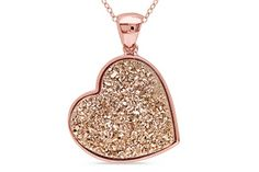 Rose Gold Drusy Heart Necklace