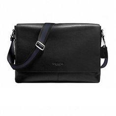 Coach Mens Sullivan Messenger Bag Black Smooth Leather Shoulder Bag CO-F71726-BK