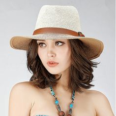 Womens wide brim panama hat with leather buckle holiday straw hats 29567a66310