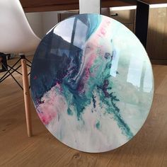 600mm canvas circle print with resin finish // CORAL REEF