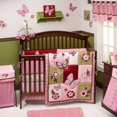 These are very similar to the colors we picked out for baby girl's room :) (lighter green and darker pink)
