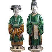 Rare pair of Sancai glazed Chinese pottery attendants, Ming Dynasty!