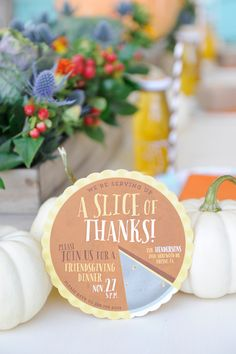 """What's more fun than pie for Thanksgiving? Get your guests excited with """"A Slice of Thanks"""" for your big dinner thanksgivingpies Thanksgiving Invitation, Thanksgiving Parties, Thanksgiving Cards, Thanksgiving Placemats, Party Invitations Kids, Invites, Business Holiday Cards, Hello Holidays, Progressive Dinner"""