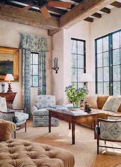 Rooney Robison Antiques: love window trim color combined with exposed beams, neutral walls, and cheerful print fabrics