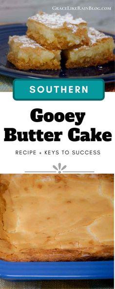 Ooey Gooey Butter Bars, Ooey Gooey Recipe, Ooey Gooey Cake, Gooey Butter Cookies, Cake Mix Recipes, Baking Recipes, Paula Deen Butter Cake, Potluck Recipes, Dessert Recipes