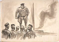 SS Officer Giving Orders - a drawing by David Olère.