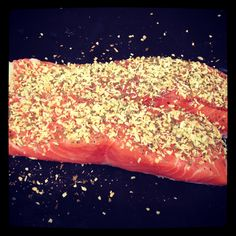Fresh salmon with a coconut, lemon myrtle and sea salt crust. Come and get your healthy omega 3's !