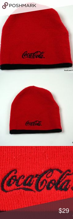 64d6af76635 Vintage Knit Coca Cola Knit Ski Beanie Winter Hat Vintage Knit Coca Cola  Knit Ski Outdoor Winter Beanie Hat Cap Red Black Spellout Used but well  cared for.