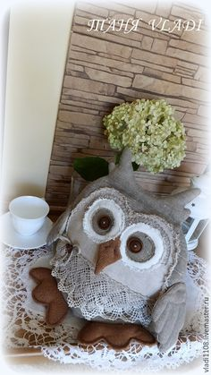 Sewing Crafts, Sewing Projects, Projects To Try, Owl Crafts, Diy And Crafts, Owl Cushion, Sewing Stuffed Animals, Felt Art, Softies