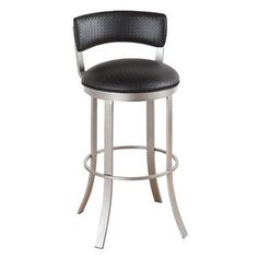 "Callee Bailey 30"" Swivel Bar Stool Frame Finish: Sun Bronze, Upholstery: Ford Black"