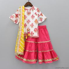 Pre Order: Printed Off-White Kurti And Sharara Set Girls Dresses Sewing, Dresses Kids Girl, Kids Outfits, Baby Dresses, Pakistani Kids Dresses, Indian Dresses For Kids, Baby Dress Design, Frock Design, Kids Lehenga Choli