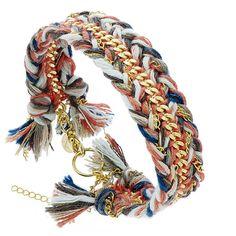 Bracelet gourmette tressé (multicolore)