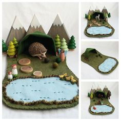 Forest Landscape Playscape Play Mat felt pretend open-ended storytelling fantasy fairy woodland gnome toy mushroom animal forest setting by MyBigWorld2015 on Etsy