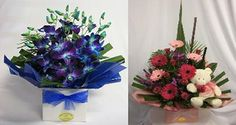 Baby Boy Flower Arrangements | Many of our arrangements come in colourfully decorated boxes and bowls ...