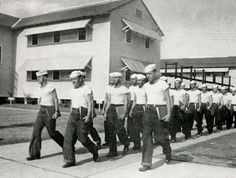 Sailors heading to class in the early 1940s at the Naval Air Technical Training Center here in Jacksonville, Florida.