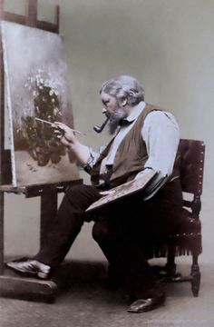 Gustave Courbet (1819-1877) was a French painter who led the Realist movement in 19th-century. Photo: Étienne Carjat, colorized by painters-in-color