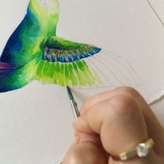 A little clip of painting the wing.   Materials used: Strathmore mixed media paper, Dr. Ph Martin's Hydrus watercolors, Liquitex professional ink • #wip#process#doodle#sketch#drawing#draw#illust#illustration#illustrator#art#artwork#artist#paint#painting#watercolor#water#spill#gradient#blend#ombre#rainbow#paints#color#summer#nature#bird#hummingbird#미술#그림