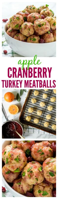 Apple Cranberry Turkey Meatballs. Easy, juicy and every bite tastes like Thanksgiving! Perfect for holiday parties, cocktails, or as a main dish with rice or couscous.