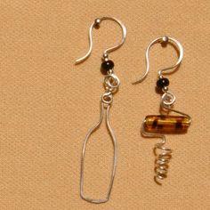wine bottle and corkscrew earrings