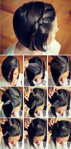 5 penteados divertidos e simples para enfermeiras com cabelo curto - . Short Hair Styles Easy, Braids For Short Hair, Short Hair Cuts, Natural Hair Styles, Nurse Hairstyles, Short Hairstyles For Women, Diy Hairstyles, Simple Hairstyles, Wedding Hairstyles