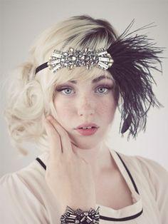 Deco Flapper Feather Headband Silver and Black : Accessories : Deanna DiBene Millinery #madeinUSA