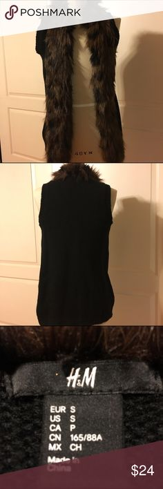 H&M Faux Fur Open Vest Black Excellent condition with no flaws.  Smoke Free Home. H&M Accessories
