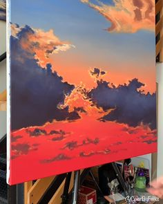 Canvas Painting Tutorials, Diy Canvas Art, Painting Techniques, Acrylic Painting Inspiration, Big Canvas, Painting Videos, Sunset Acrylic Painting, Sunset Paintings, Painting Clouds